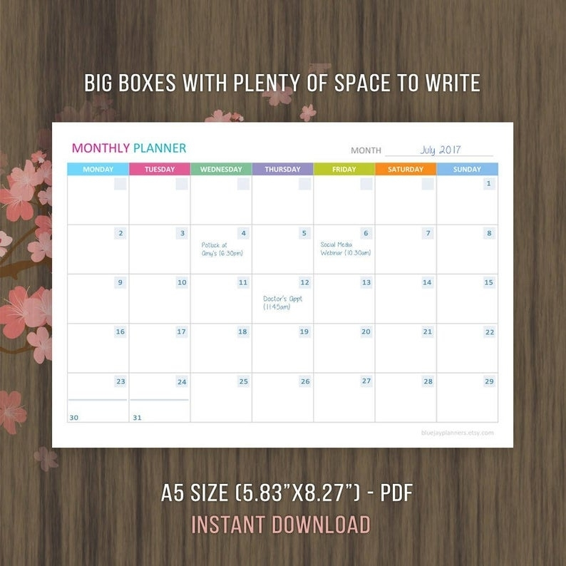 A5 Undated Monthly Planner Printable Monthly Calendar   Etsy