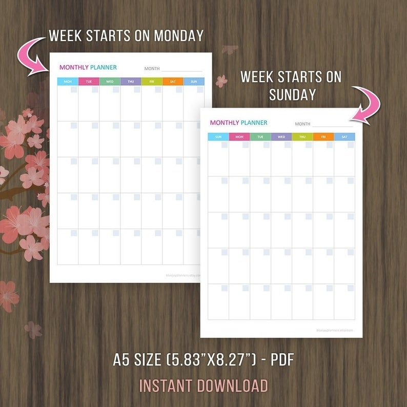 A5 Undated Monthly Planner Printable Monthly Calendar | Etsy