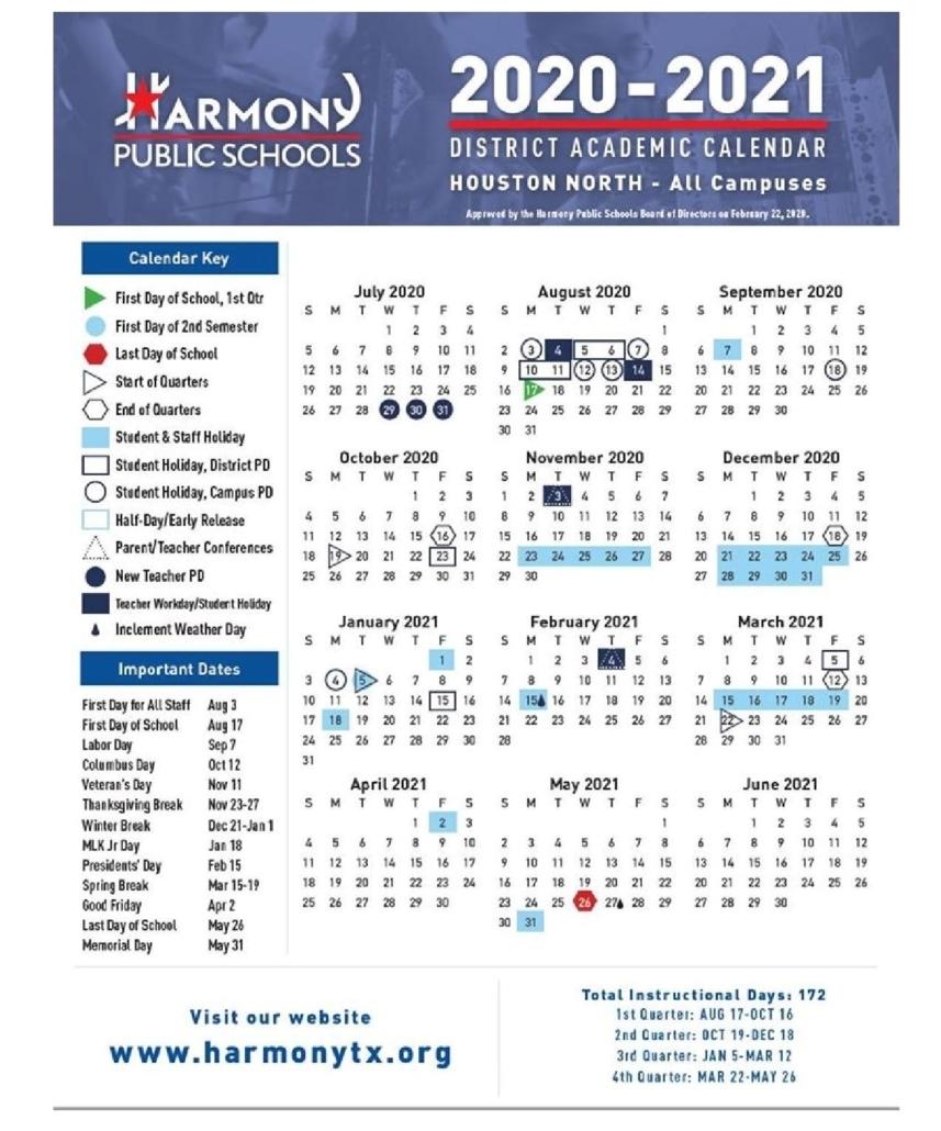 Academic Calendar 2020-2021 - 3 | Harmony School Of