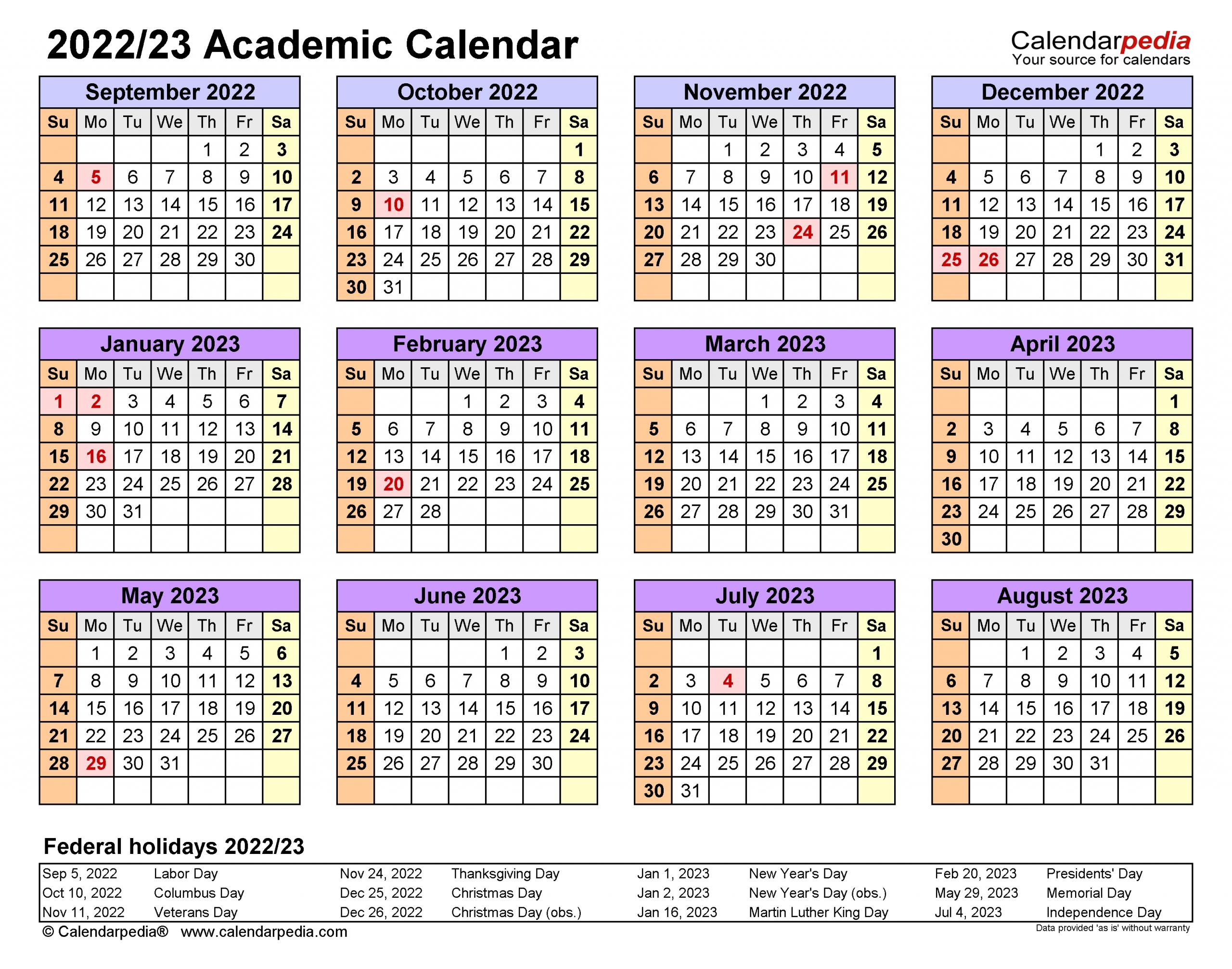 Academic Calendars 2022/2023 - Free Printable Excel Templates