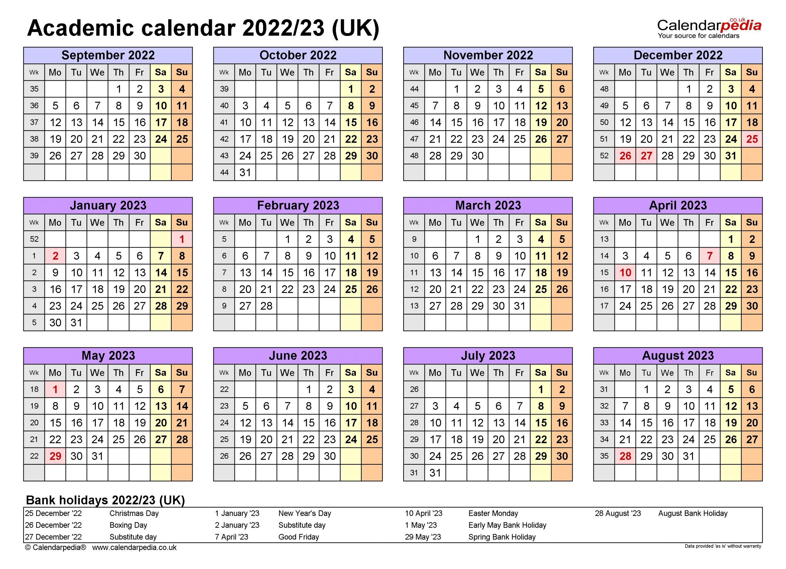 Academic Calendars 2022/23 Uk - Free Printable Pdf Templates