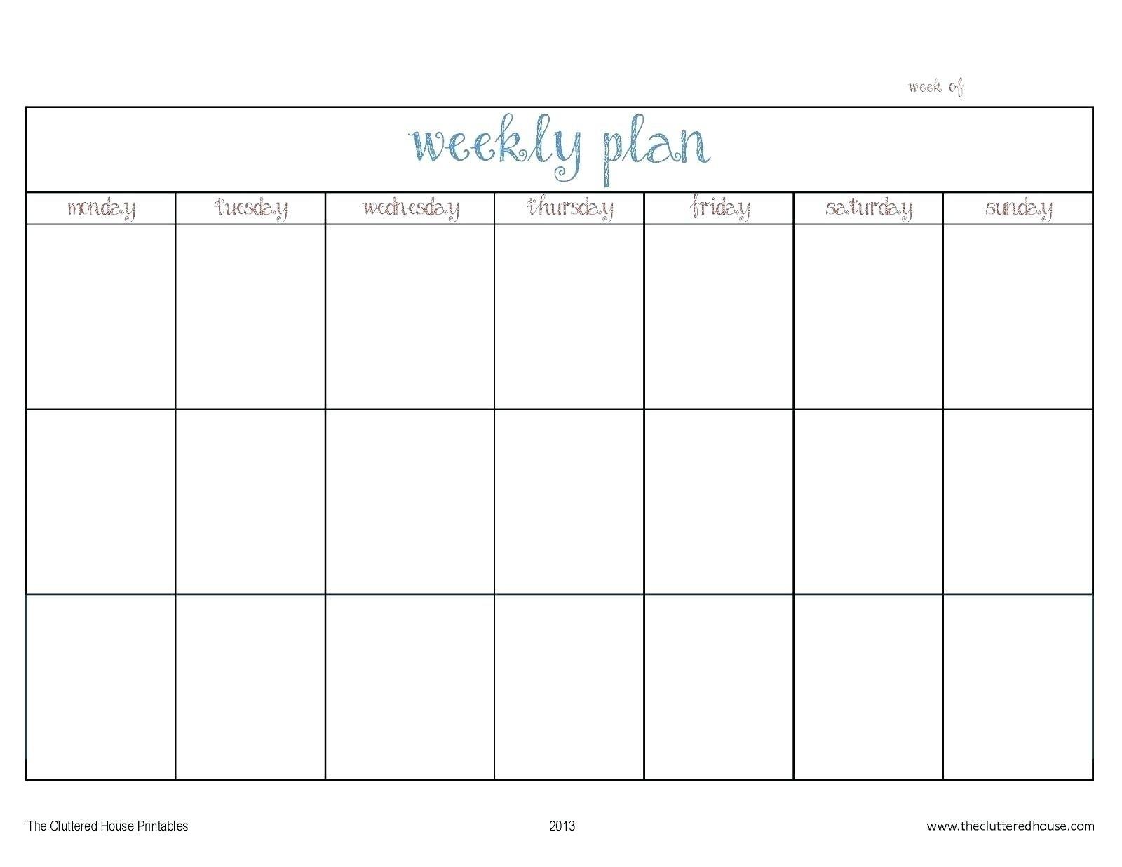 Agenda Monday To Friday   Ten Free Printable Calendar 2020