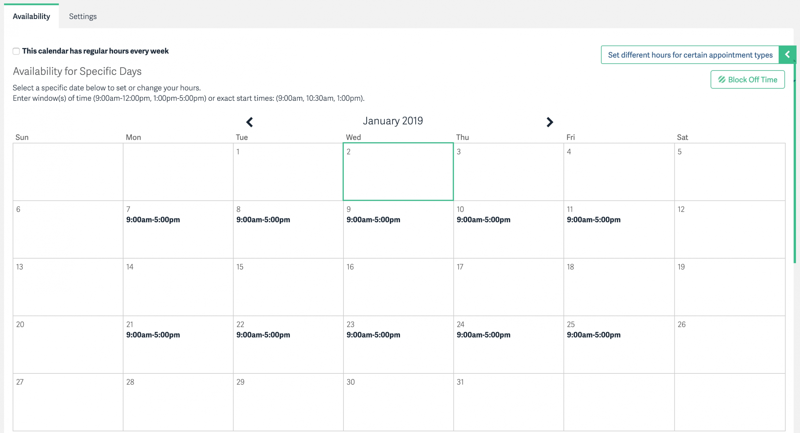 Alternating Hours Every Other Week - Acuity Scheduling