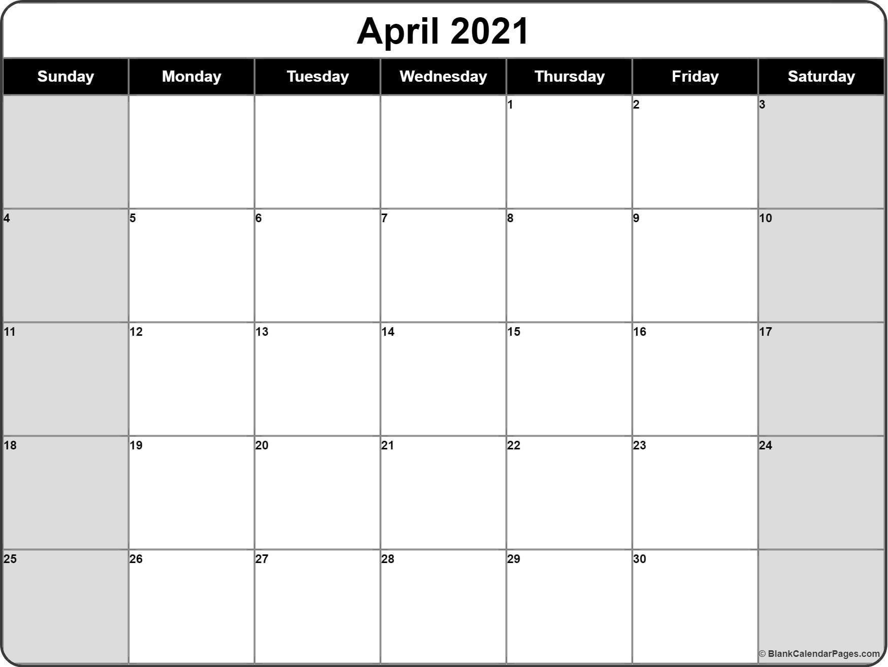 April 2021 Calendar | Free Printable Calendar Templates