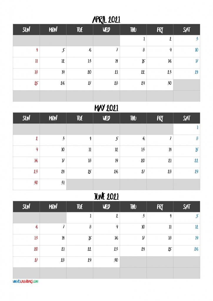 April May June 2021 Calendar Free Download-Template Code