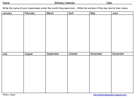 Artistry Of Education: Free Birthday Graphing Activity