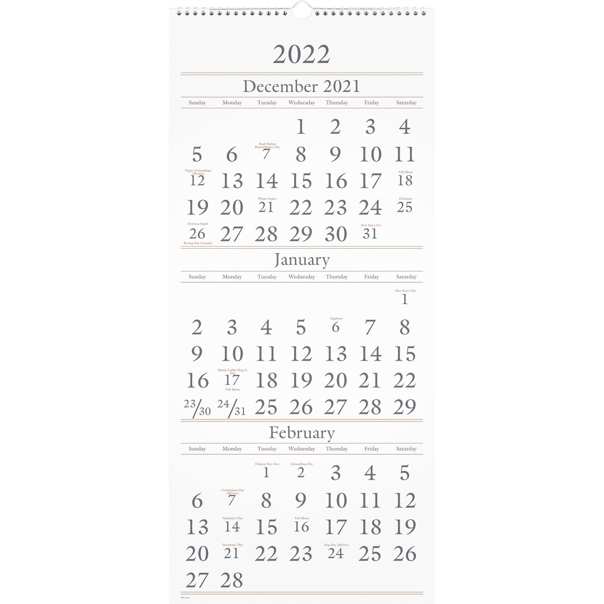 At-A-Glance 3-Month Vertical Wall Calendar - Quarterly - 1