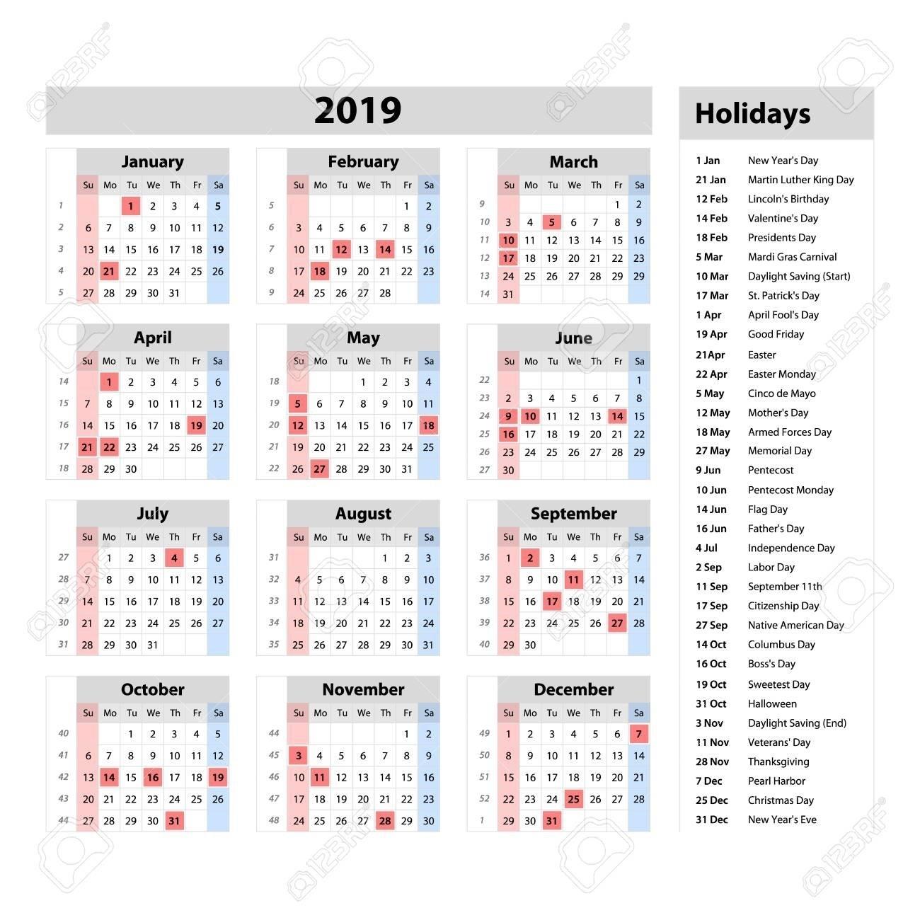 At A Glance Calendar 2019 :-Free Calendar Template