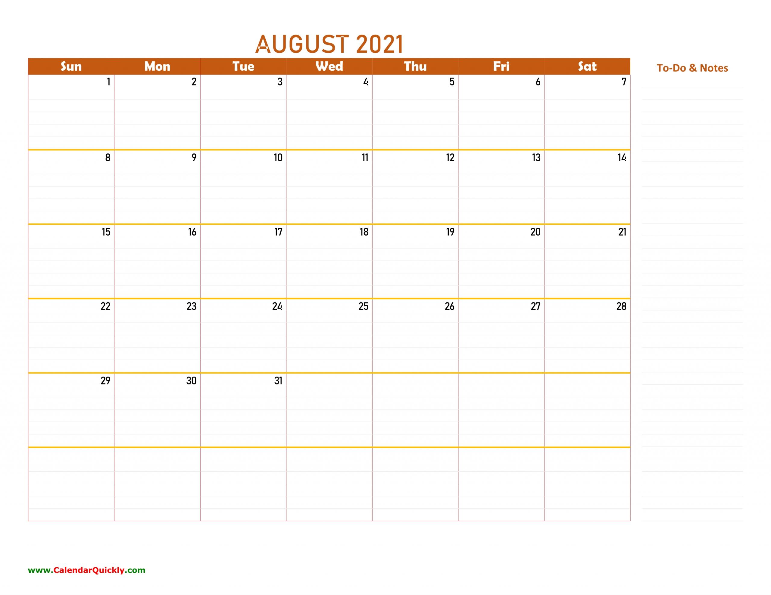 August 2021 Calendar | Calendar Quickly