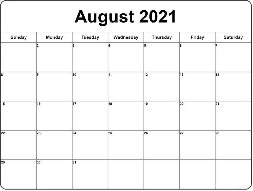 August 2021 Calendar In 2021 | 2021 Calendar, Monthly
