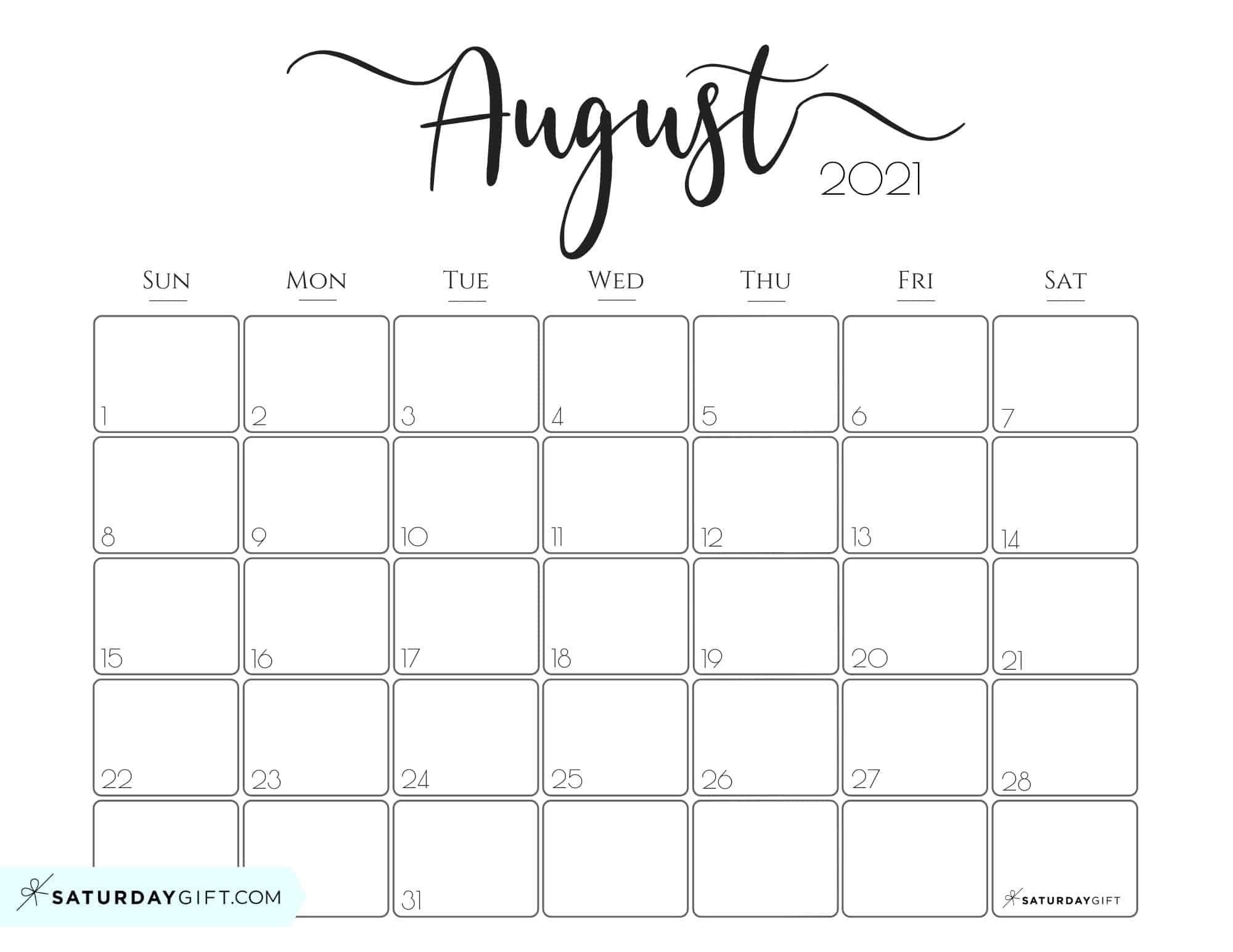 August 2021 Printable Bill | Calendar Template Printable
