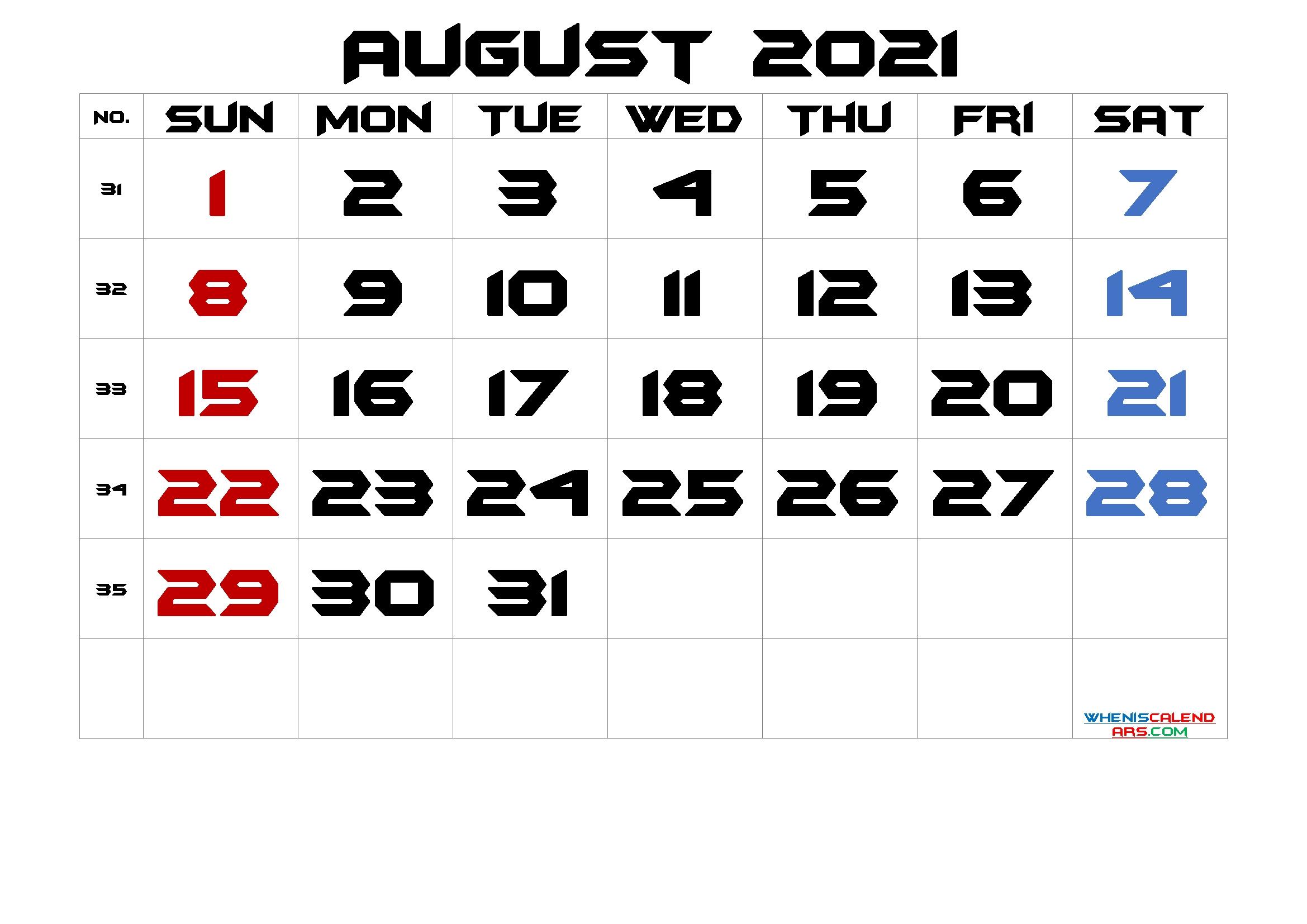 August 2021 Printable Calendar With Week Numbers - 6