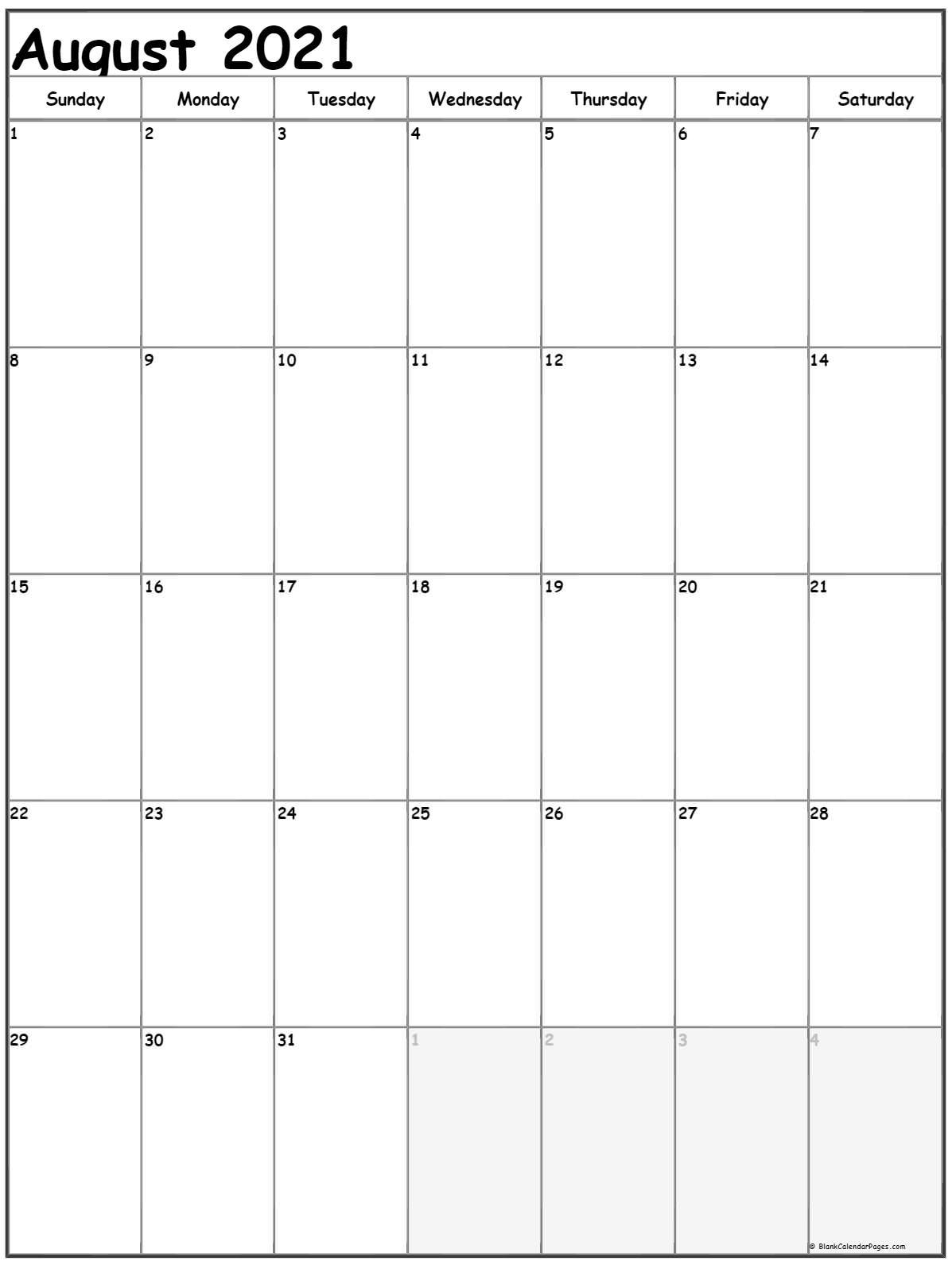 August 2021 Vertical Calendar   Portrait