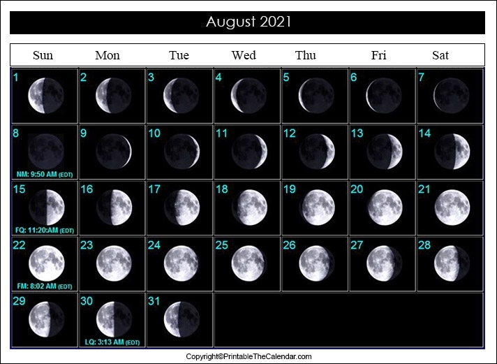 August Full Moon Calendar 2021   Printable The Calendar