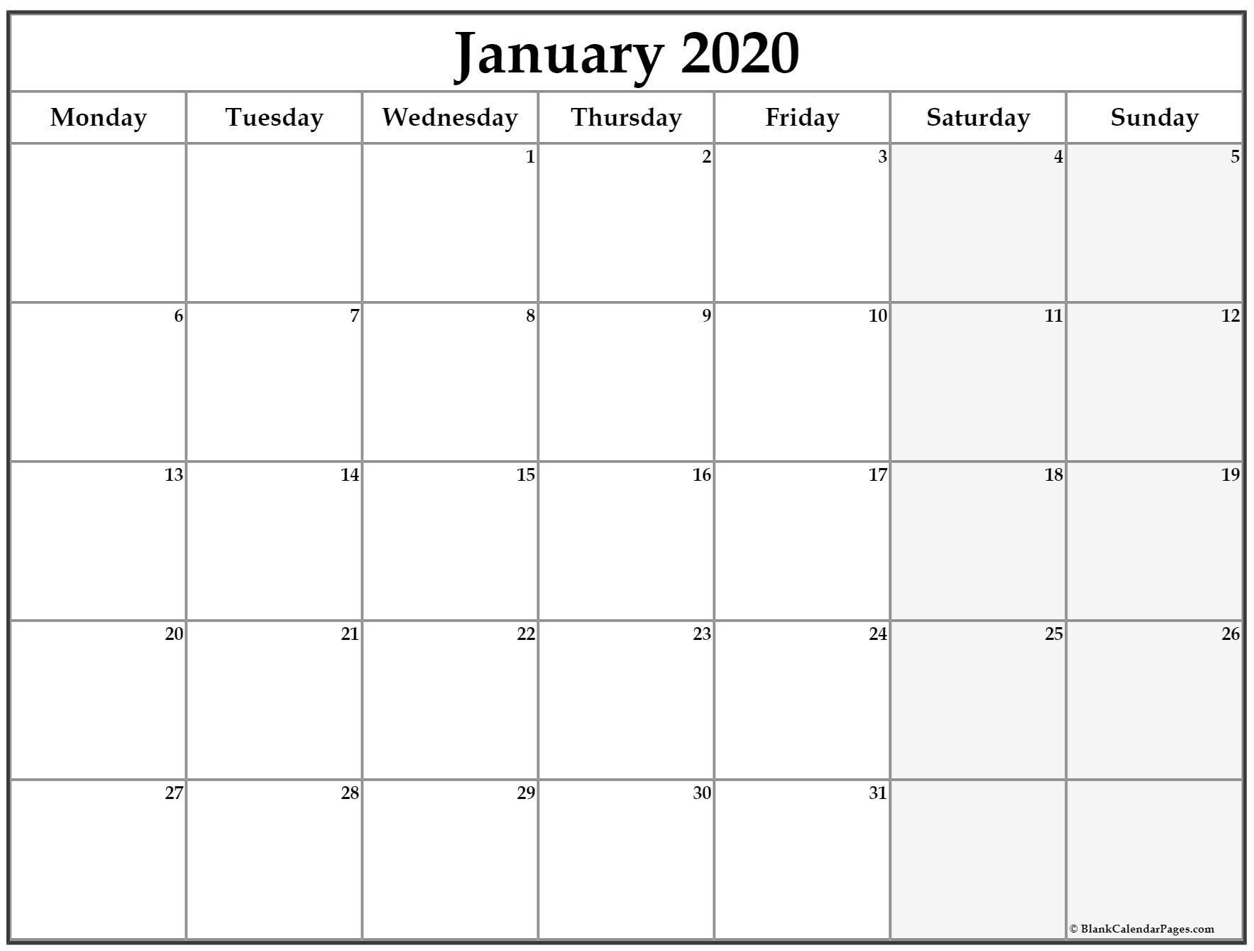 Best Free Printable Monthly Calendar Monday Thru Friday Di
