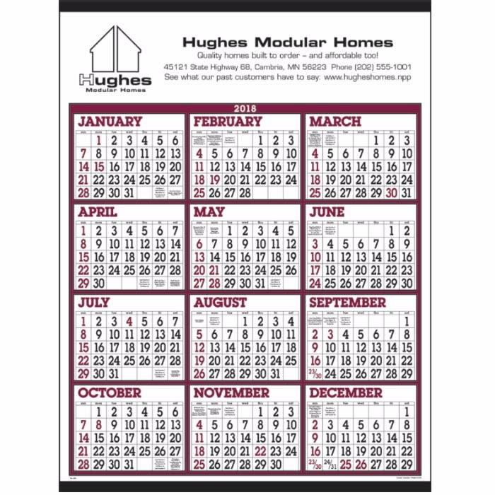 Big Numbers Span-A-Year Wall Calendar-C6202