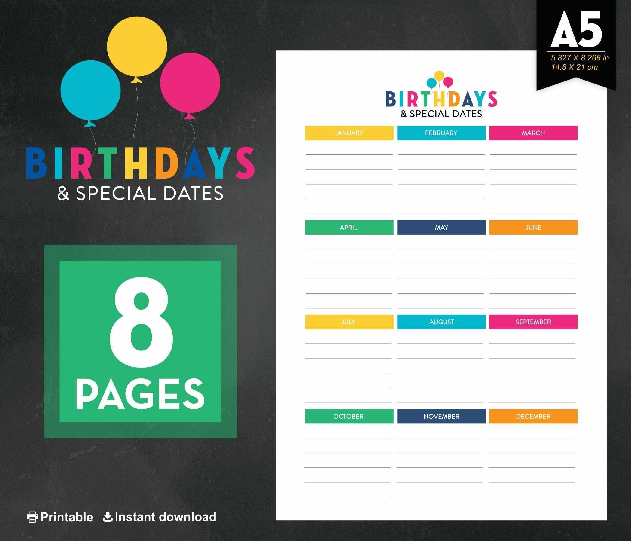 Birthday Calendar Birthday Tracker Anniversary Calendar