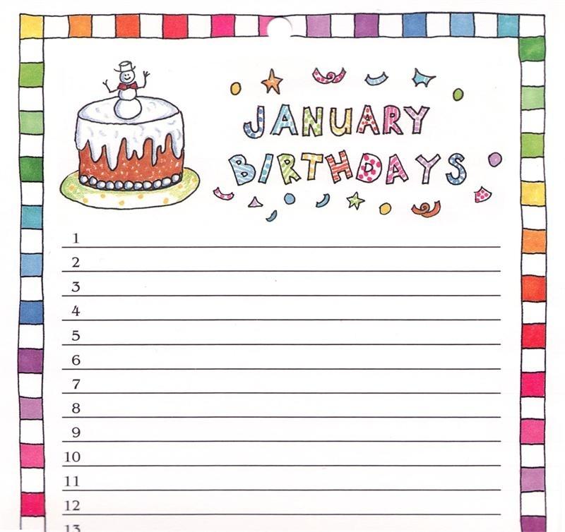 Birthday Reminder Calendar - Rose Street Design