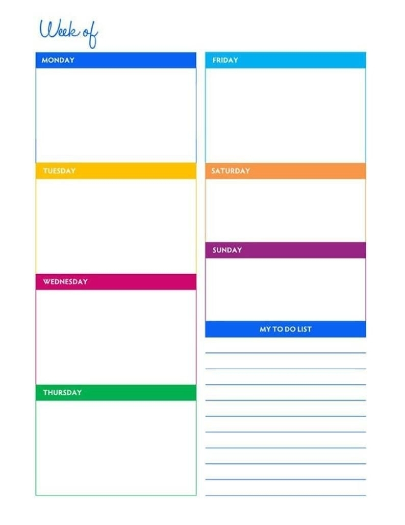 Blank 8 1/2 X 11 Weekly Calendar | Calendar Template 2020
