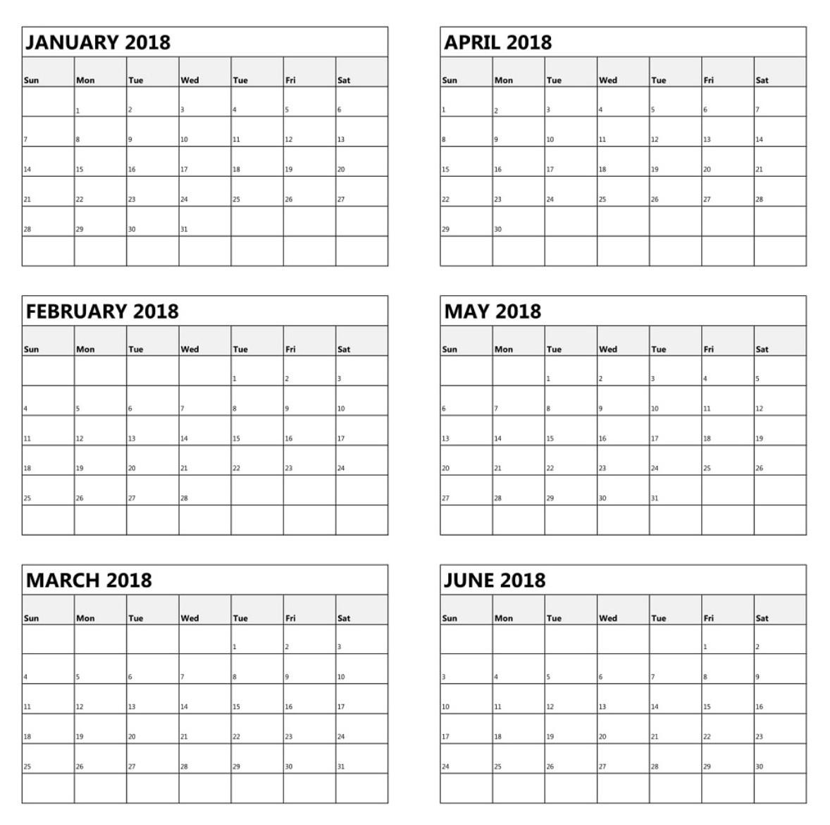 Blank Calendar 6 Months | Calendar Template Printable