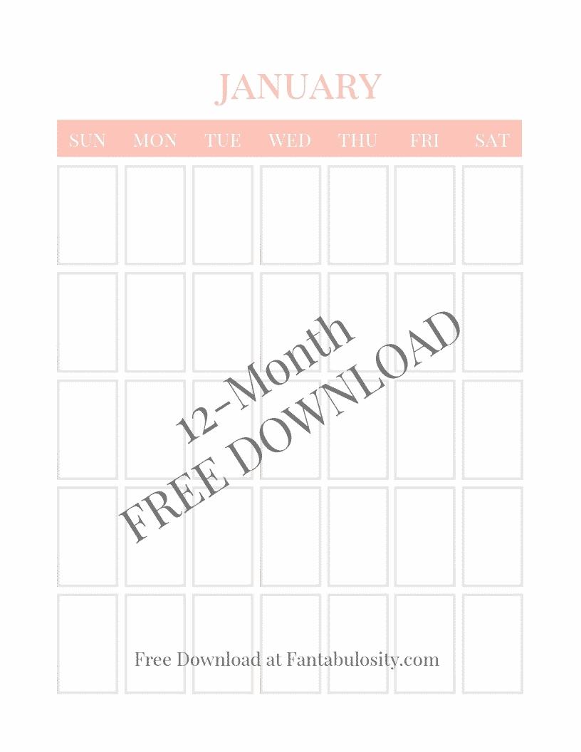 Blank Calendar Big Squares | Calendar Template 2020