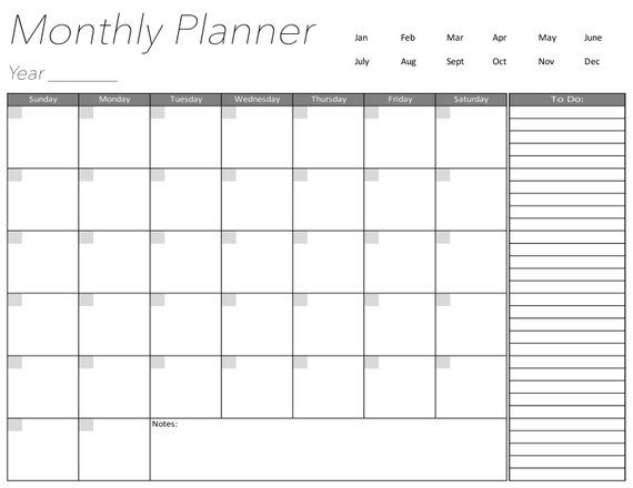 Blank Calendar Page, Days Of The Week, Monthly Planner