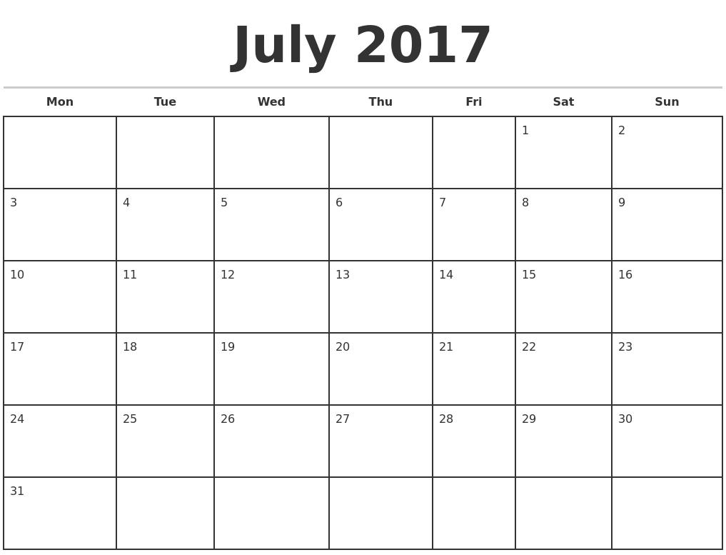 Blank Calendar Starting With Monday | Example Calendar