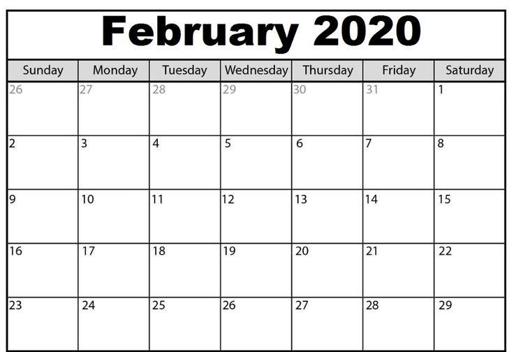 Blank February 2020 Calendar | Calendar Template, Free
