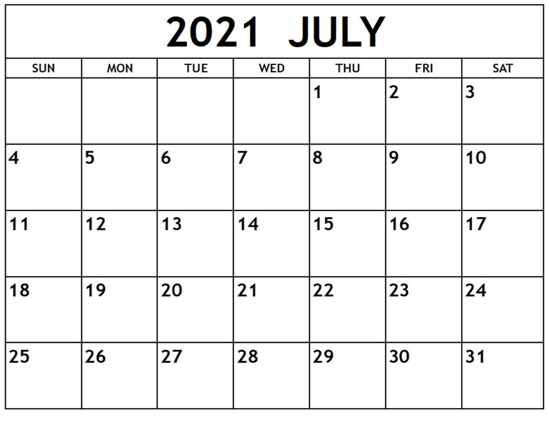 Blank July 2021 Calendar Editable Pdf - Thecalendarpedia