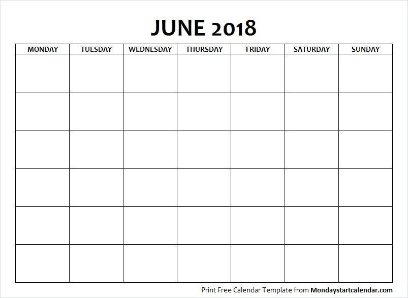 Blank June 2018 Calendar Monday Start Template | Calendar