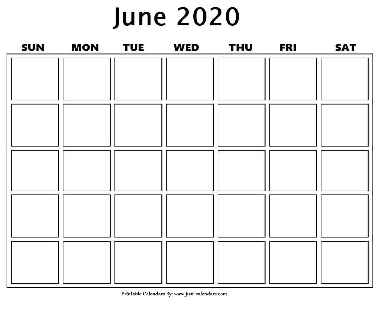 Blank June 2020 Calendar In 2020 | Calendar Printables