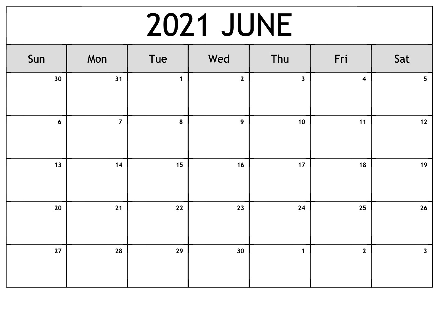 Blank June 2021 Calendar Make Schedule - Thecalendarpedia