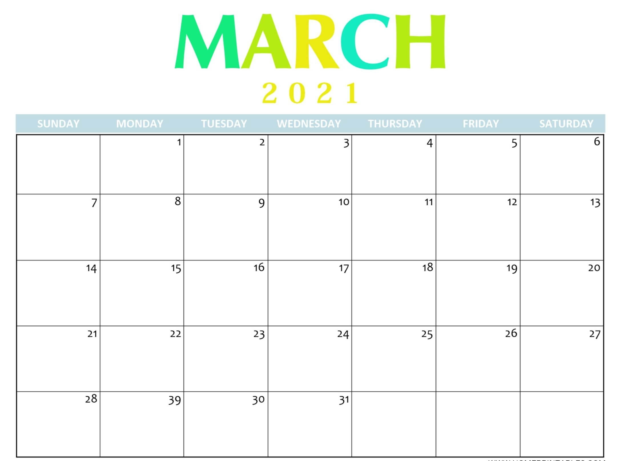 Blank March 2021 Calendar Printable Paper Sheets - One