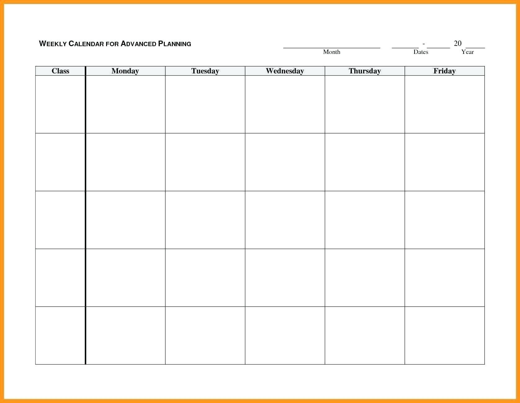 Blank Monday Through Friday Month Calendar Template :-Free
