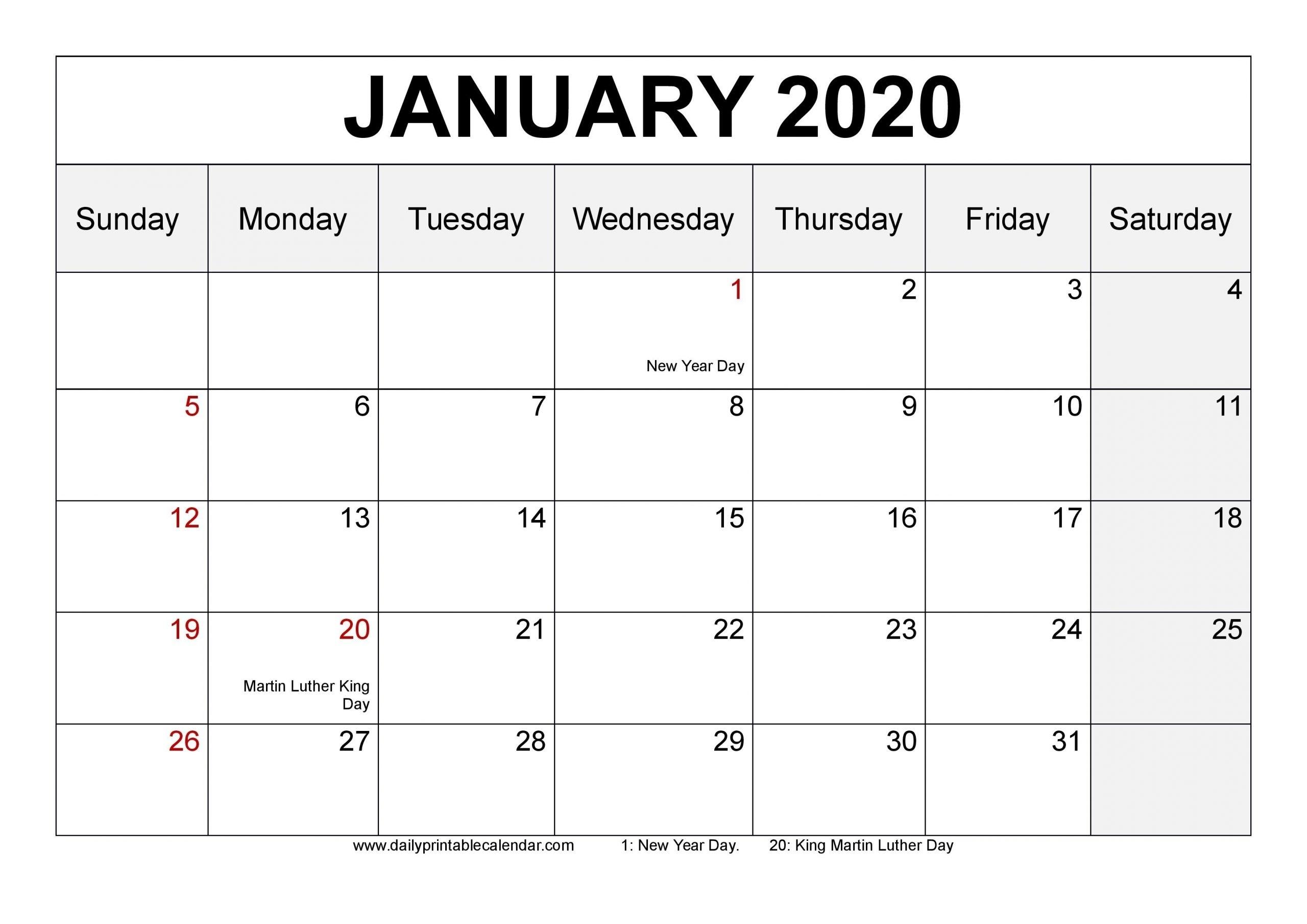Blank Monday Through Friday Monthly Calendar   Ten Free