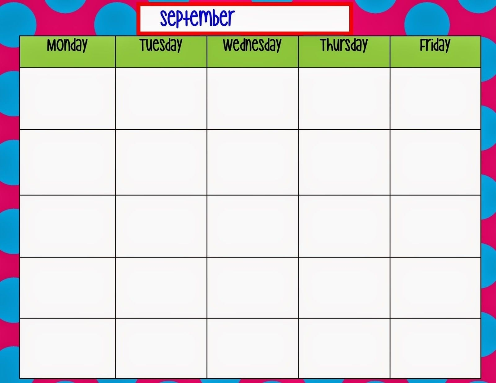 Blank Monday Through Friday Pdf | Calendar Template Printable