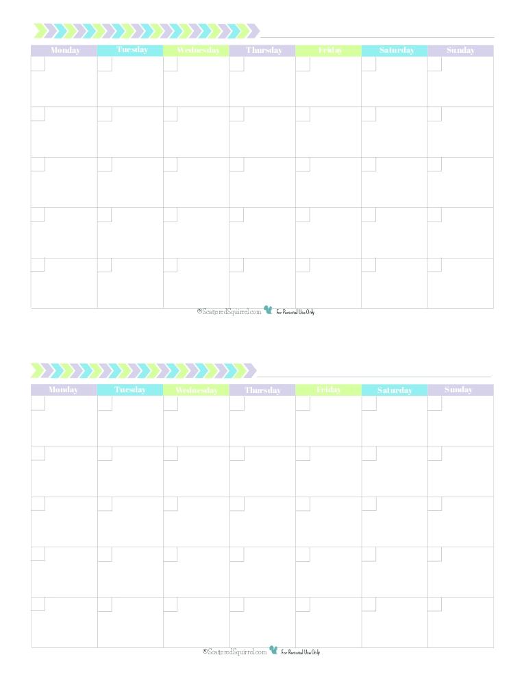 Blank Monthly Calendar Half Size Green Blue Purple Monday