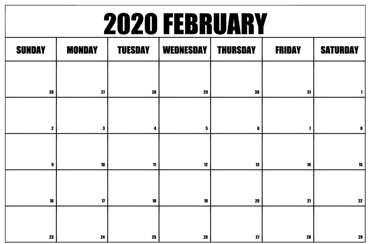 Blank Monthly Calendar Printable 2020 Monday Start