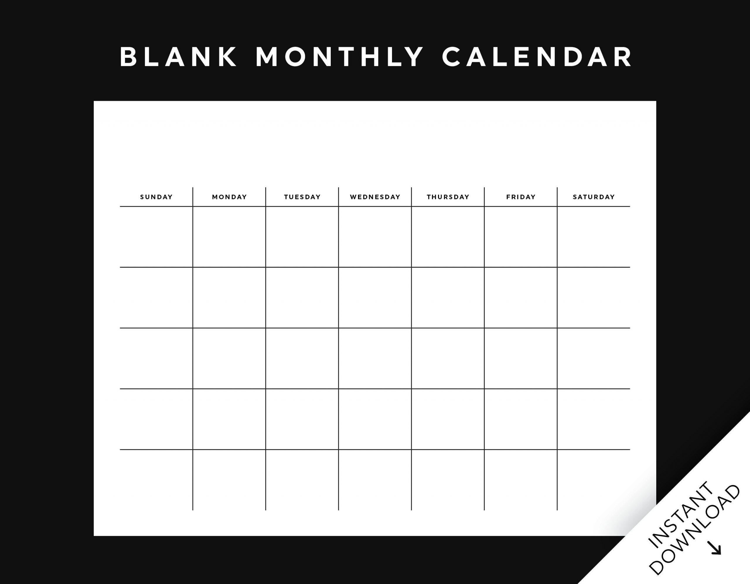 Blank Monthly Calendar Printable, Wall Calendar, Desk