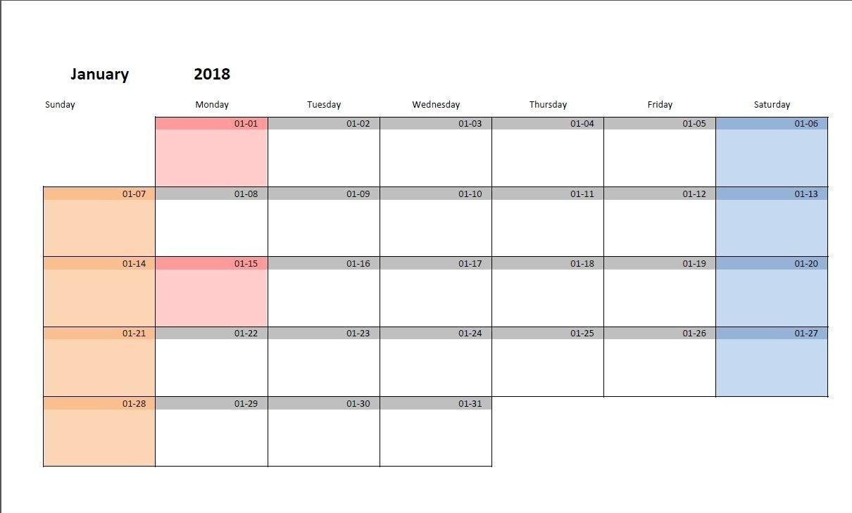 Blank Monthly Calendar Starting On Monday | Calendar