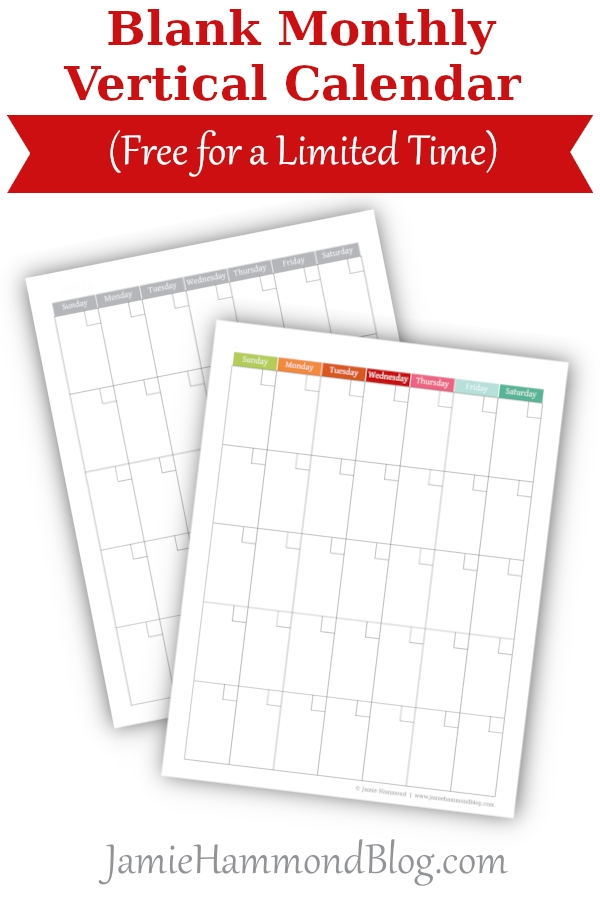 Blank Monthly Vertical Calendar (Free For A Limited Time