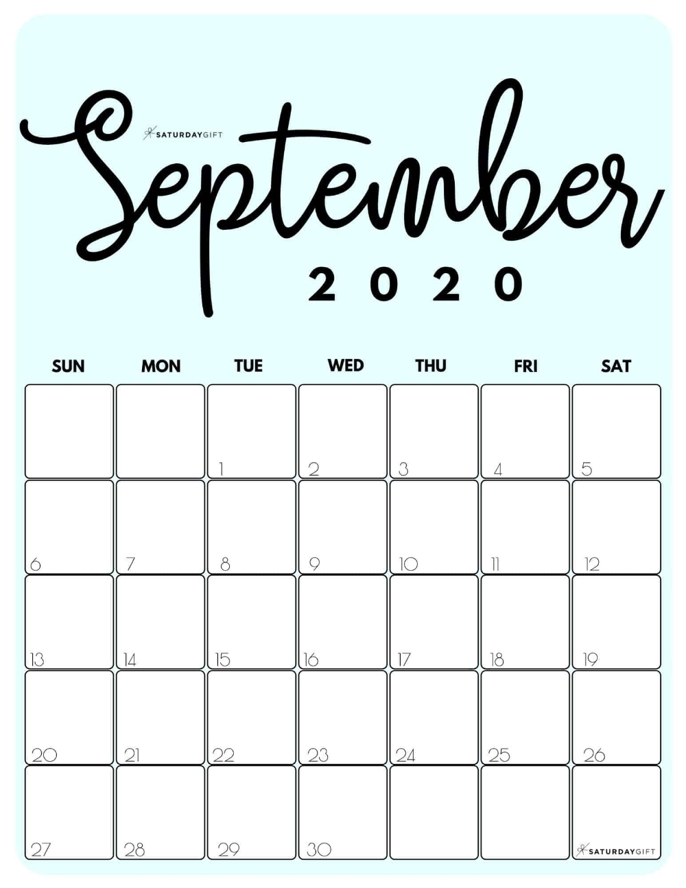 Blank September 2020 Calendar Printable - Google Search