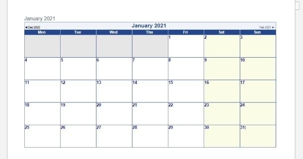 Blank Template January 2021 Calendar Word - 2021 Calendar