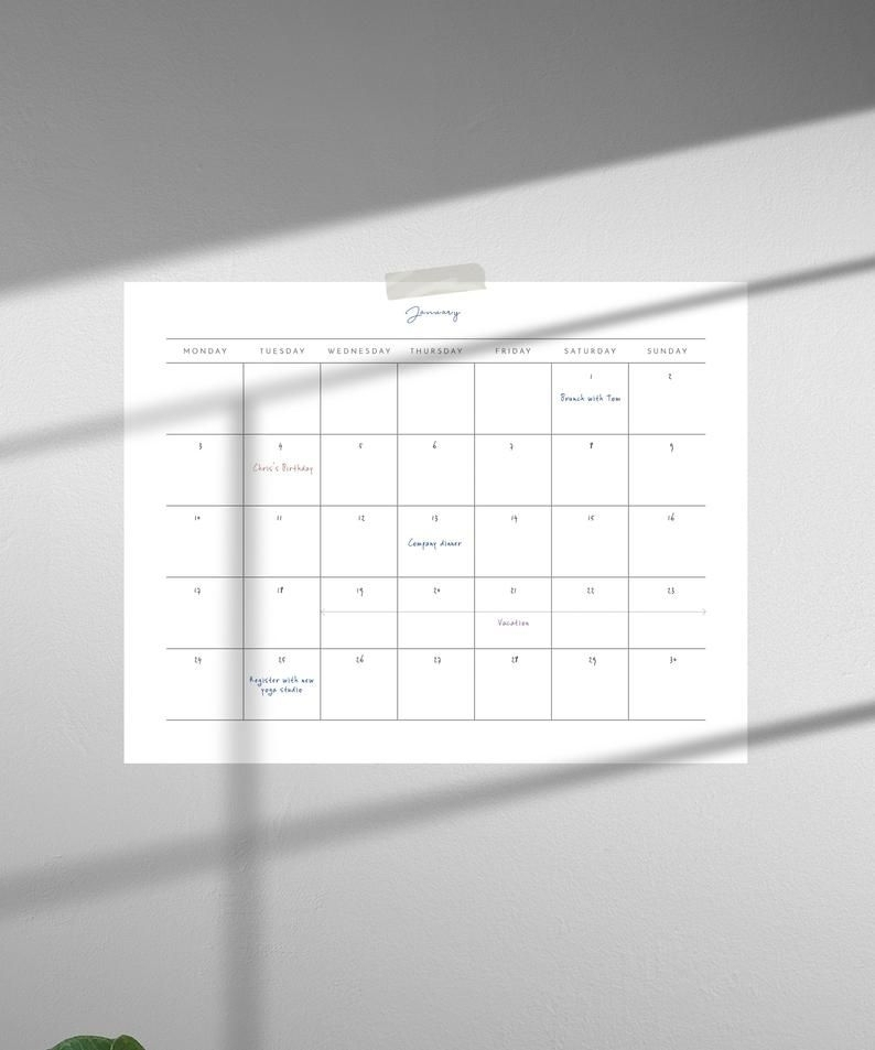 Blank Undated Calendar To Print   Ten Free Printable