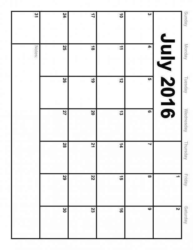 Blank Vertical Calendar :-Free Calendar Template