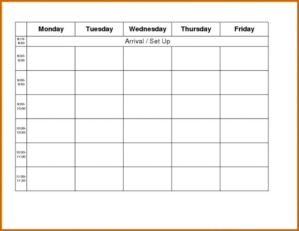Blank Weekly Calendar Monday To Friday - Calendar