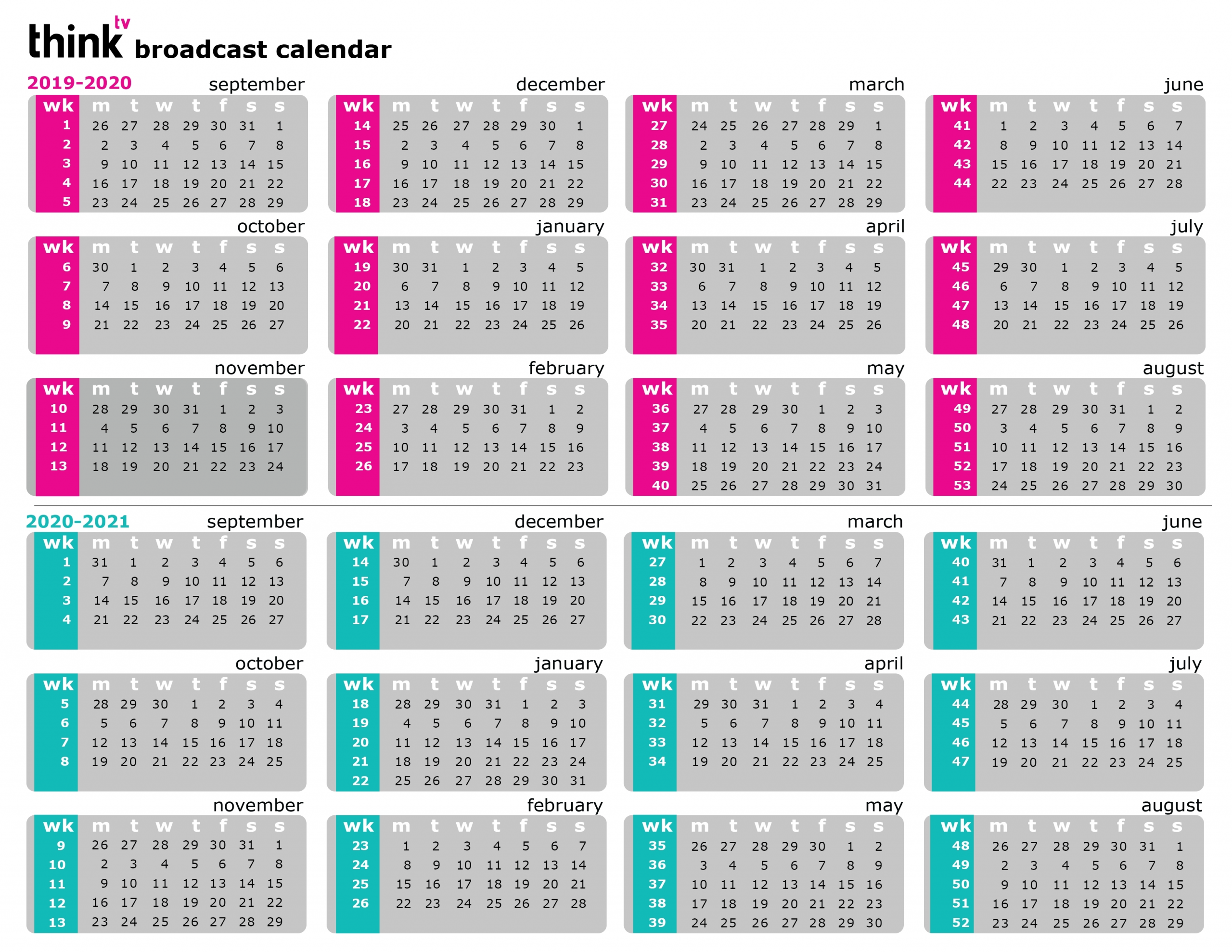 Broadcast Calendar 2021 • Printable Blank Calendar Template