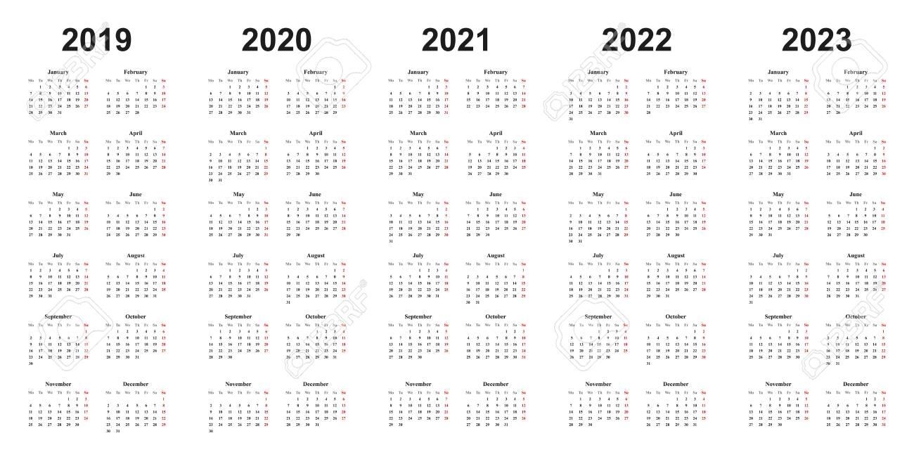 Calendar 2019 2020 2021 2022 | Printable Calendars 2021