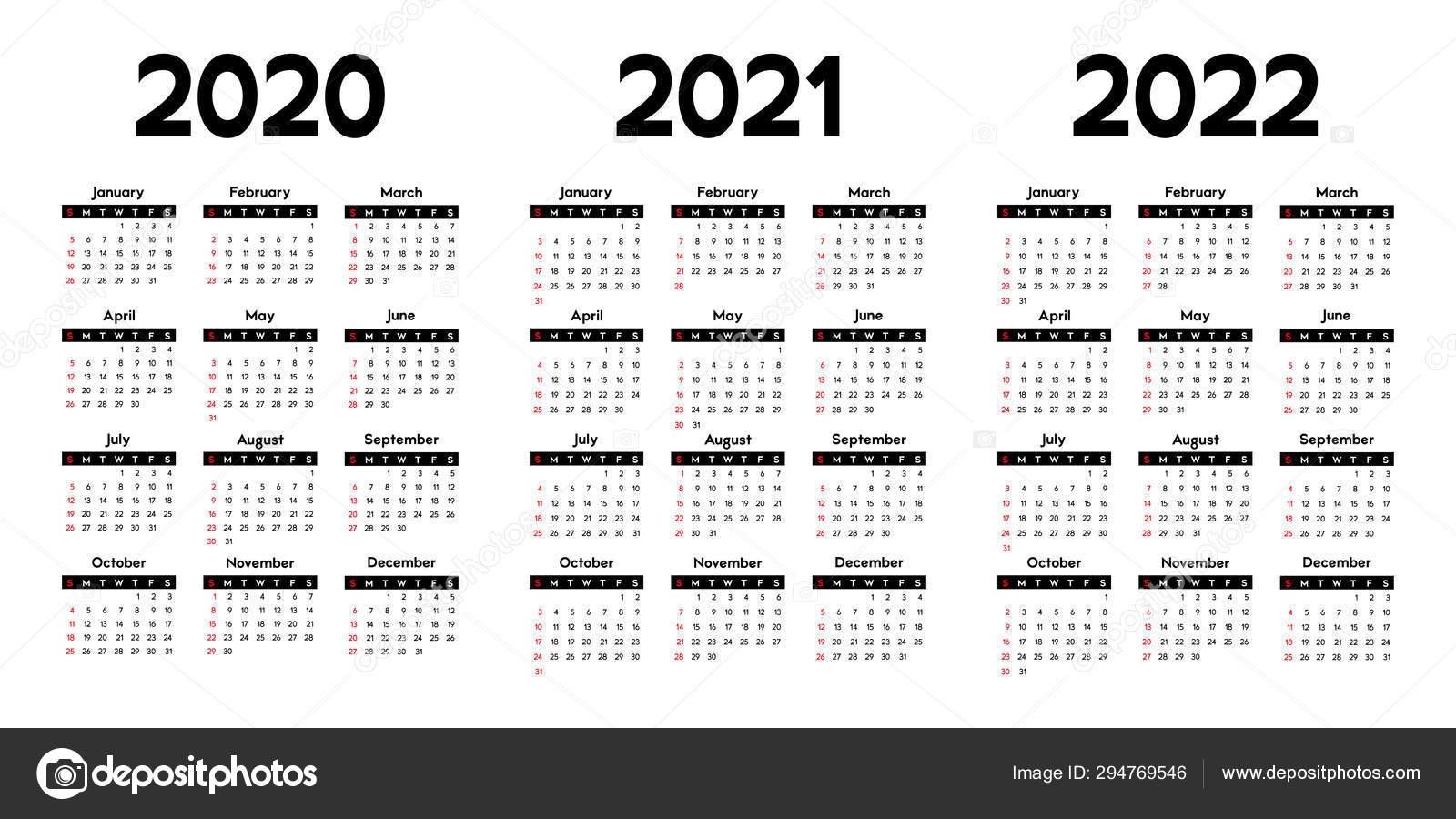 Calendar 2020 2021 2022 Week Starts Sunday Basic Business