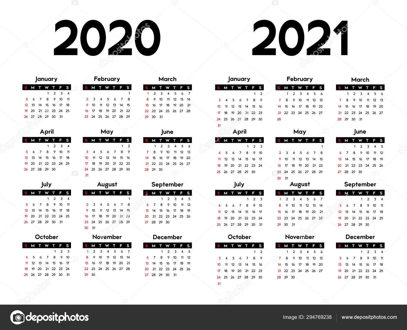 Calendar 2020 2021 Week Starts Sunday Basic Business